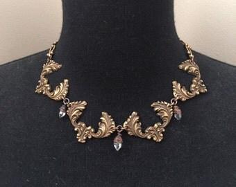 Statement  Necklace Brass Collar Necklace Antique Hardware Necklace Rustic Jewelry DanielleRoseBean Art Nouveau Necklace