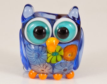 Pale Blue Murrini Owl Lampwork Bead