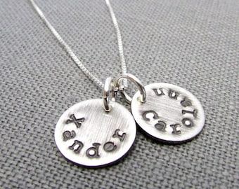 Personalized Name Necklace, CHLOE Double Charm, Vintage Style Hand Stamped Sterling Silver Personalized Charm Necklace by E. Ria Designs