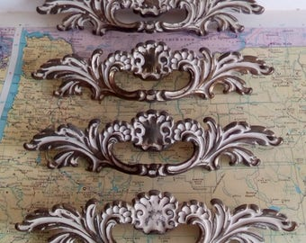 SALE! 4 wide mid century ornate brass metal French Provincial handles
