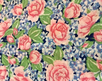 Floral Print Cotton Fabric, Blue Pink and Green , 5 yards by 45 inches wide