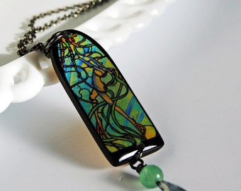 mermaids tango necklace, stained glass image, green necklace, gifts under25