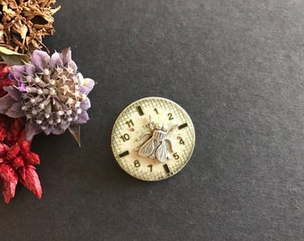 Steampunk Fly Pin, Fly Pin, Fly Brooch, Insect Pin, Bug, Watch Face, Numbers, Backpack Pin, Sweater Pin, Lapel Pin, Upcycled, Time Flies By