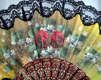 Vintage Hand Painted Fan with Lace and Gold Embossed Spines