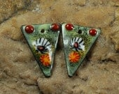 Enameled Copper Metal Stamps, Earring Beads, Lampwork, Charms, Enamel,  #143 by CC Design