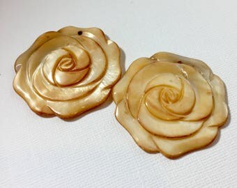 Mother of Pearl Rose Pendant Duo in Tea Stained