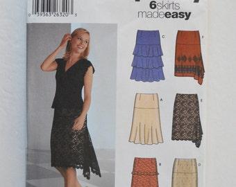 2000s Simplicity Easy Sewing Pattern 5761 Fitted Knee Length Skirt w/ Ruffles, Flounce Tiers, Yoke, Side Fishtail Hem Size 6,8,10,12
