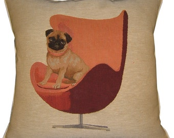 Pug on a Red Retro Chair Cream Tapestry Cushion Cover Sham