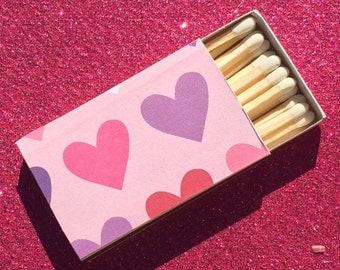 10 Valentines Matchbox Party Favors Love Hearts Romance Purple Pink Lavender White Black Personalized Custom Sparkler Perfect Match Cigar