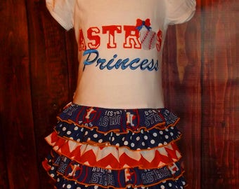 Astros Princess Ruffle T-Shirt Dress, MLB, Houston, Spirit, Mascot, Sports, Baseball