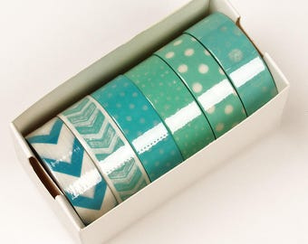 6 piece packs 10 Yards of Colorful Mint green Pattern Washi Tape Assortment