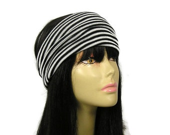 "Black and White Earwarmer Striped Knit Head Wrap Acrylic Knit Ear Warmer Black and White Headband Ear Warmer ""No Itch"" Wide Ear Warmer"