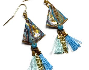 Polymer Clay Jewelry-Moroccan Tassel Earrings- Resin earrings- Polymer Clay Earrings- Ready to Ship- Turquoise Earrings