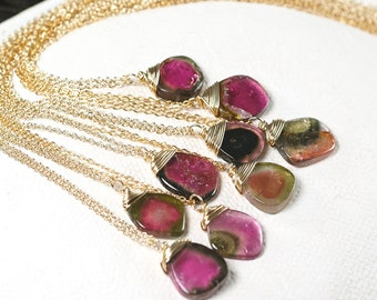 Watermelon Tourmaline pendant necklace in 14k gold filled. FREE Shipping worldwide. Sold individually