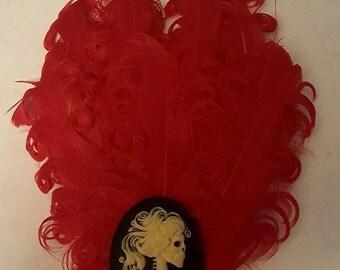 Skull, Skull fascinator, Red, Red fascinator, Feather fascinator, Ready to ship, Pin up, MsFormaldehyde