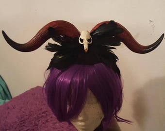 Skull, Horns, Feather headdress, Horn headdress, Skull, Taxidermy, Halloween, Red horns, Faux horns, Msformaldehyde