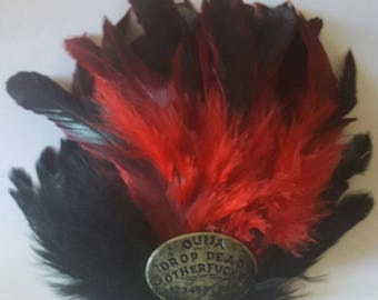 Ouija, Ouija board, Ouija hat, Oddities, Horror movie, Horror, Go Away fascinator, Feather, red feather, MsFormaldehyde