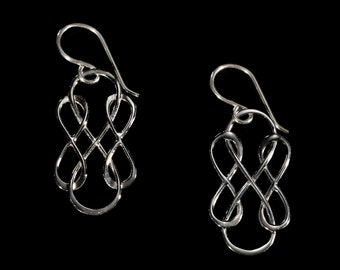 Sterling Silver Triple Infinity Earrings, Silver Earrings, Silver Jewelry, Gifts for her, Birthday Gift, Bridesmaid Gift