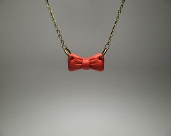 Red Bow Necklace - Bow Tie Necklace