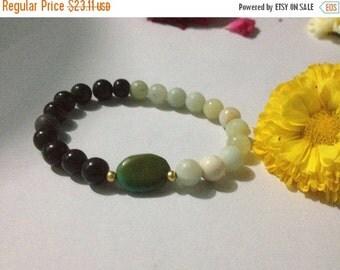 ON SALE Yin Yang Yoga Bracelet with Tibetan Turquoise