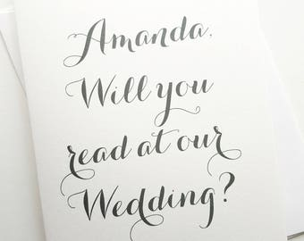 Will You Read At Our Wedding? - Personalized Calligraphy Design