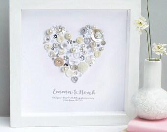 Personalised Pearl Anniversary Heart Art Gift