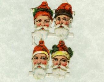 Vintage Sweet Santas Scraps - Package of 8 Santas (Santa Claus) - From Germany