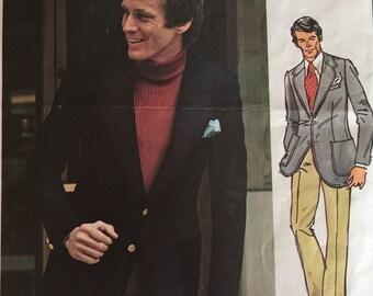 Vintage 70s Pierre Cardin Men's Notched Curved Lapel Suit Vogue Paris Original Sewing Pattern 2737 40