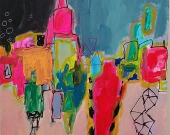 Pink, black, abstract, expressionism, turquoise, red