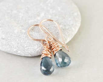 London Blue Topaz Drop Earrings, December Birthstone Jewelry, Blue Gemstone Earrings, Petite Earrings