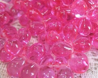 ON SALE New Rose Hot Pink Transparent Czech Pressed Glass Teardrop Beads 6mm x 9mm