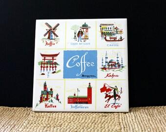 Coffee around the World. Vintage Berggren tile.  Design No. 112.