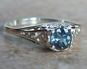 Genuine Blue Sapphire Sterling Silver Filigree Ring, Cavalier Creations