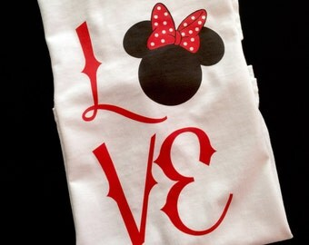 Mouse Ears with Bow Love T Shirt - Mouse Ears with Bow
