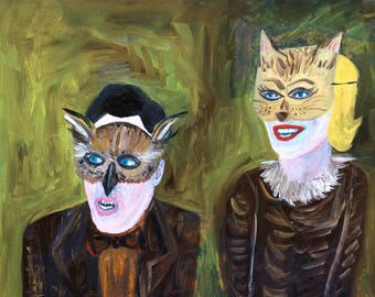 Owl and pussycat. Original oil painting by Vivienne Strauss.