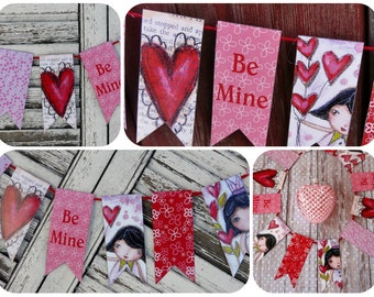 Be Mine Valentine Banner PDF printable- digital college sheet girls