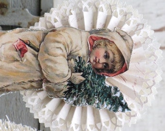 Vintage Inspired CHRISTMAS Victorian SNOW CHILD Holding a Tree ~ Standing on Spool ~ Rosettes ~ Winter Red White