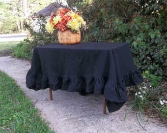 Black Linen Tablecloth Ruffled Linen Table Cloth Custom Handmade Halloween Party Decor Party Decorations Black Tablecloth