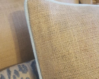 READY To Ship - TWO BURLAP Pillow Covers With Blue Piping