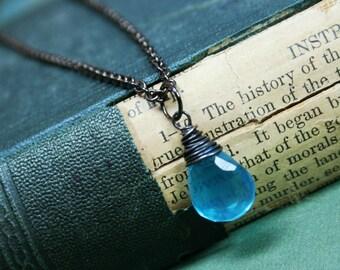 SALE - Blue Quartz Briolette Hand Wrapped Gunmetal Necklace