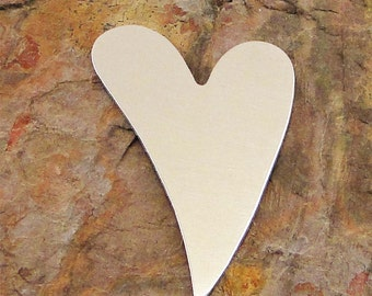 "10 Deburred 2"" STYLIZED HEART Large *Choose Your Metal* Aluminum Brass Bronze Copper Nickel Silver Stamping Blanks Tag Hearts Name ID Offset"