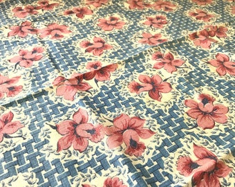 Vintage Pink Daffodil on Blue Basketwork Flour Sack Fabric - 100% Cotton