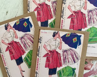 Apron Note Card Set Vintage Apron Pattern Retro Fifties 50s Housewife Seamstress Sew 4 Large Greeting Cards