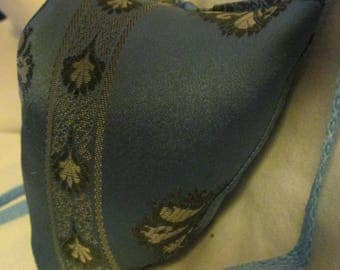Renaissance Padded Periwinkle Blue with Downward Motif Leaves Fabric Codpiece with Ties