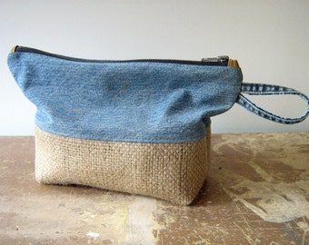 Salvaged Denim and Burlap Zip Pouch, Clutch Purse, Toiletry Bag, Organizer Bag, handmade in Maine, USA