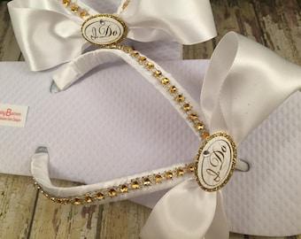 I Do Bridal Flip Flops, Gold Flip Flops, I Do Bridal Sandals, Gold Wedding Sandals, Custom Flip Flops, Beach Wedding Shoes, Dancing Shoes