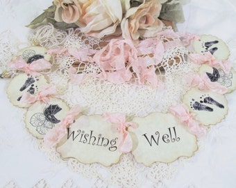 Wishing Well Baby Banner MINI Small w/ribbons - Baby Shower Wishing Well Garland Card Banner - Sprinkle Gender Reveal Party