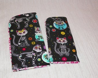 Skele Kitty Dia de los Muertos on Black Slide in Sunglass or Eyeglass Case