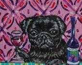 30% off black pug at the wine bar dog art tile coaster gift