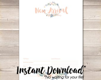 Watercolor Wreath Blush Navy Digital Baby Book Pages Instant Download
